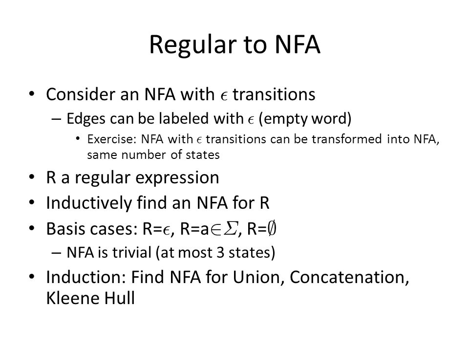 Regular to NFA Consider an NFA with ² transitions