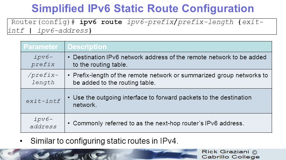 11 ipv6 routing table and static routes ppt download simplified ipv6 static route configuration keyboard keysfo Image collections