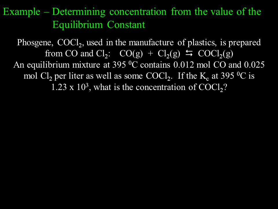 Example – Determining concentration from the value of the