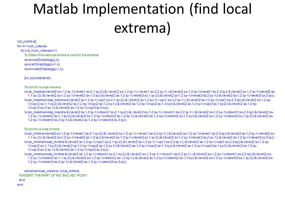 Matlab Implementation (find local extrema)