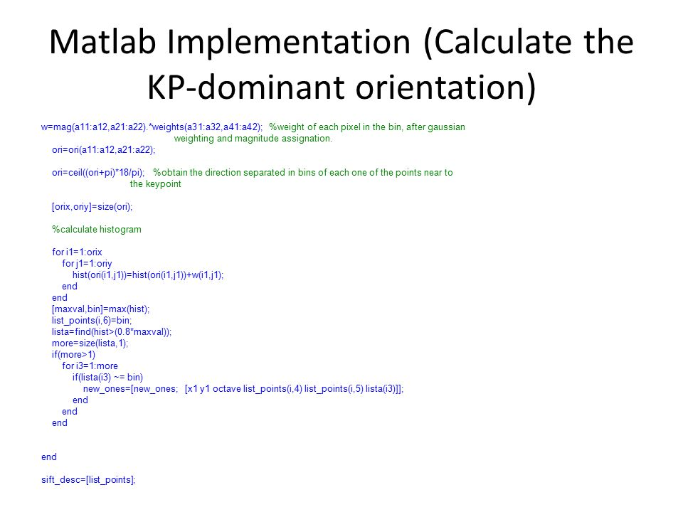 Matlab Implementation (Calculate the KP-dominant orientation)
