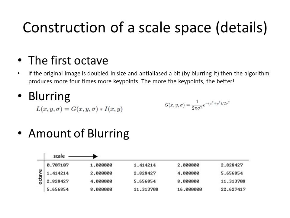 Construction of a scale space (details)