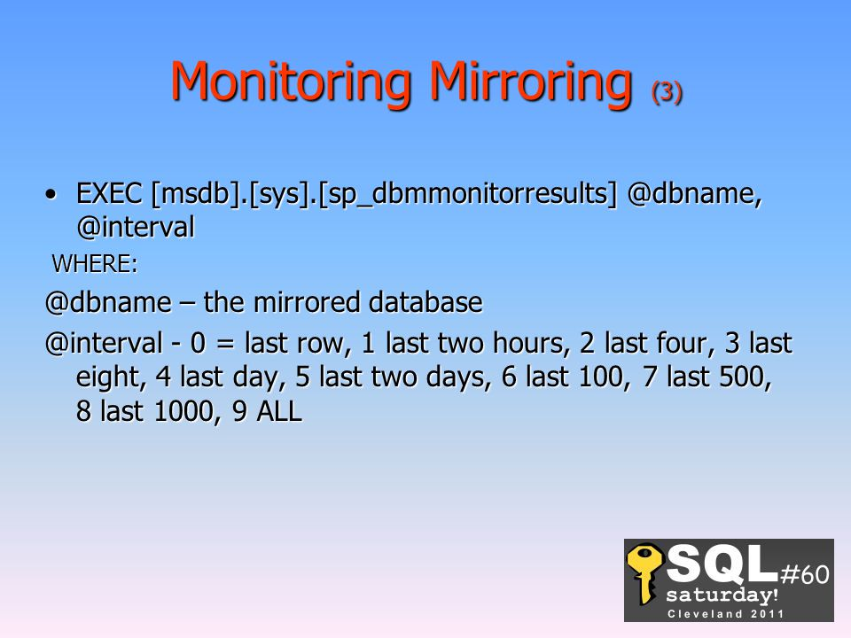 Monitoring Mirroring (3)