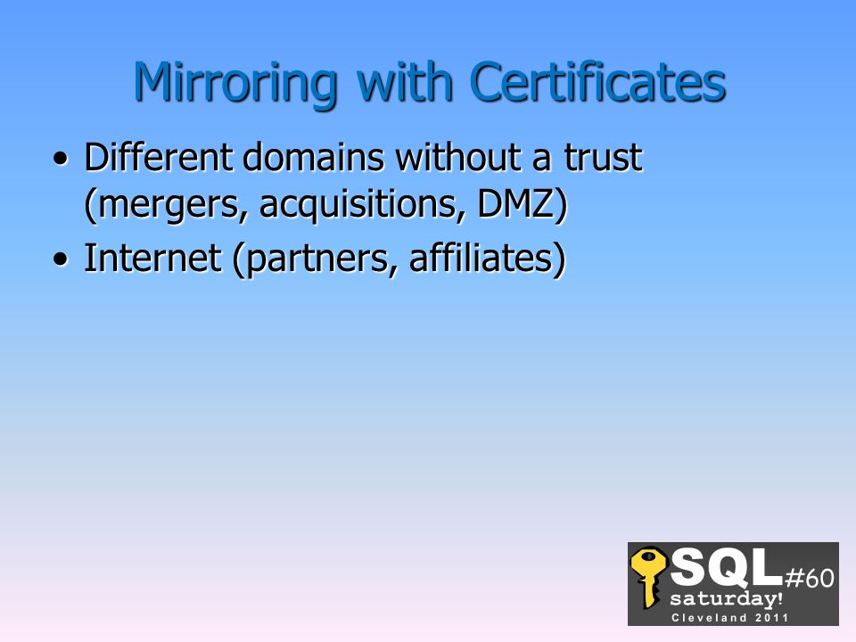 Mirroring with Certificates