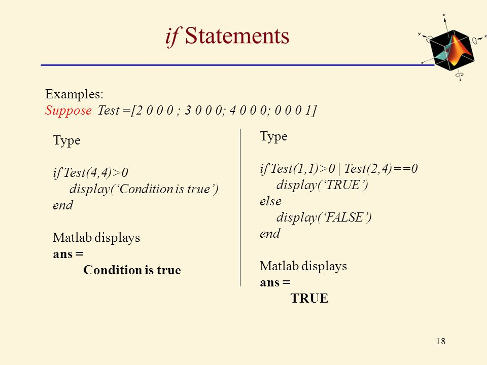 if Statements Examples: