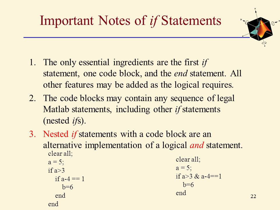 Important Notes of if Statements