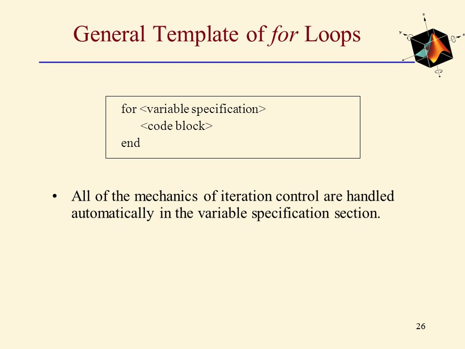 General Template of for Loops