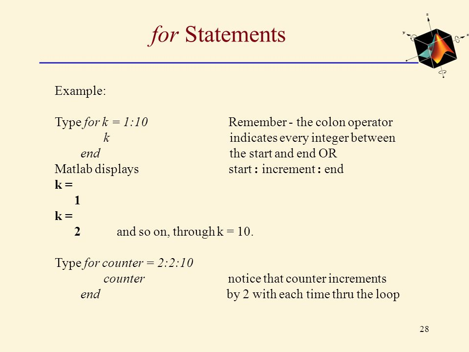 for Statements Example: