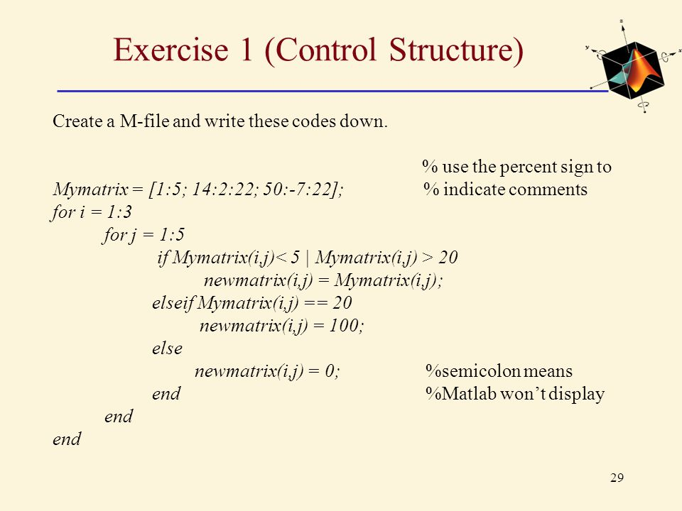 Exercise 1 (Control Structure)