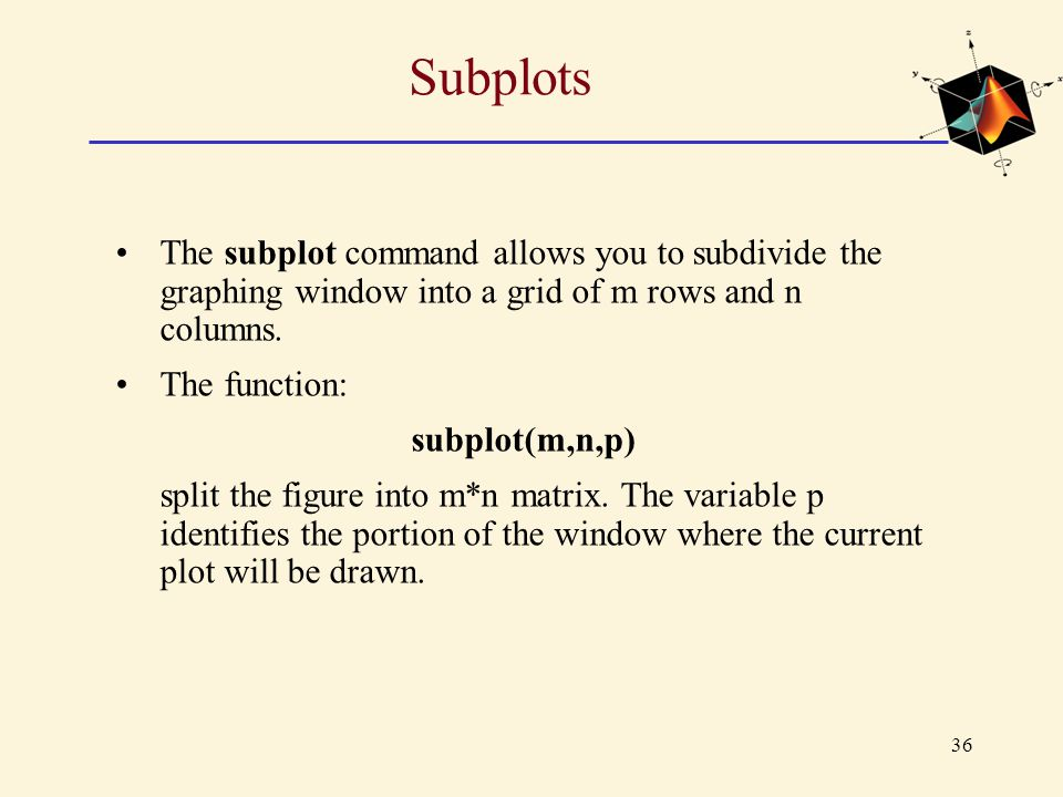 Subplots The subplot command allows you to subdivide the graphing window into a grid of m rows and n columns.