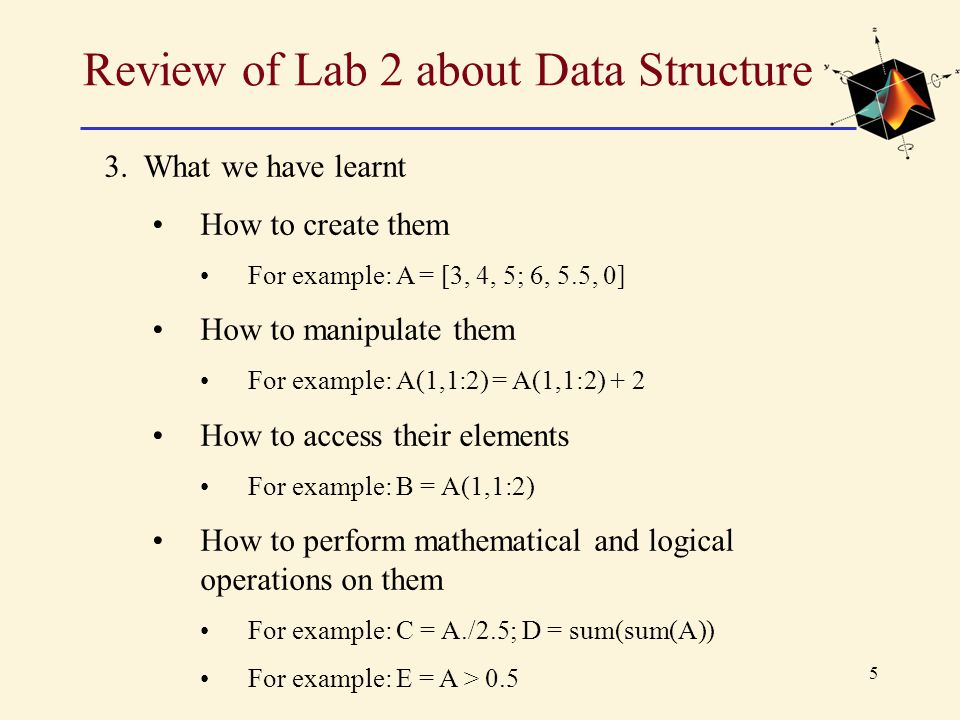 Review of Lab 2 about Data Structure