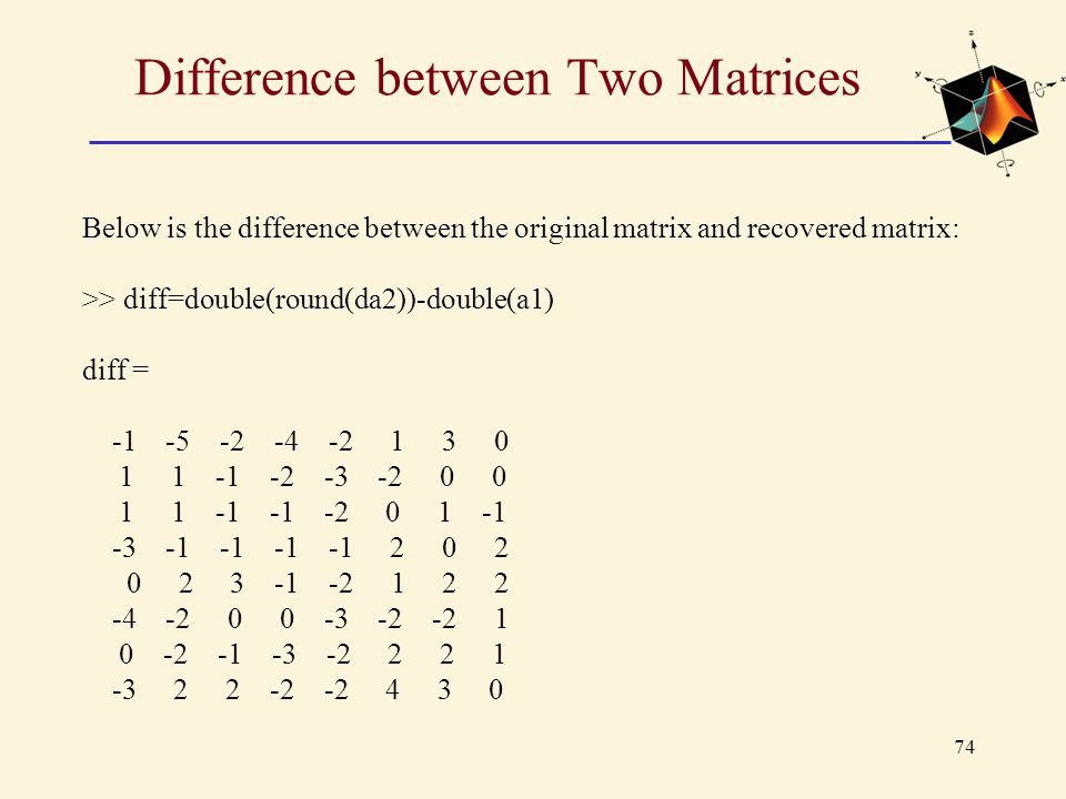 Difference between Two Matrices
