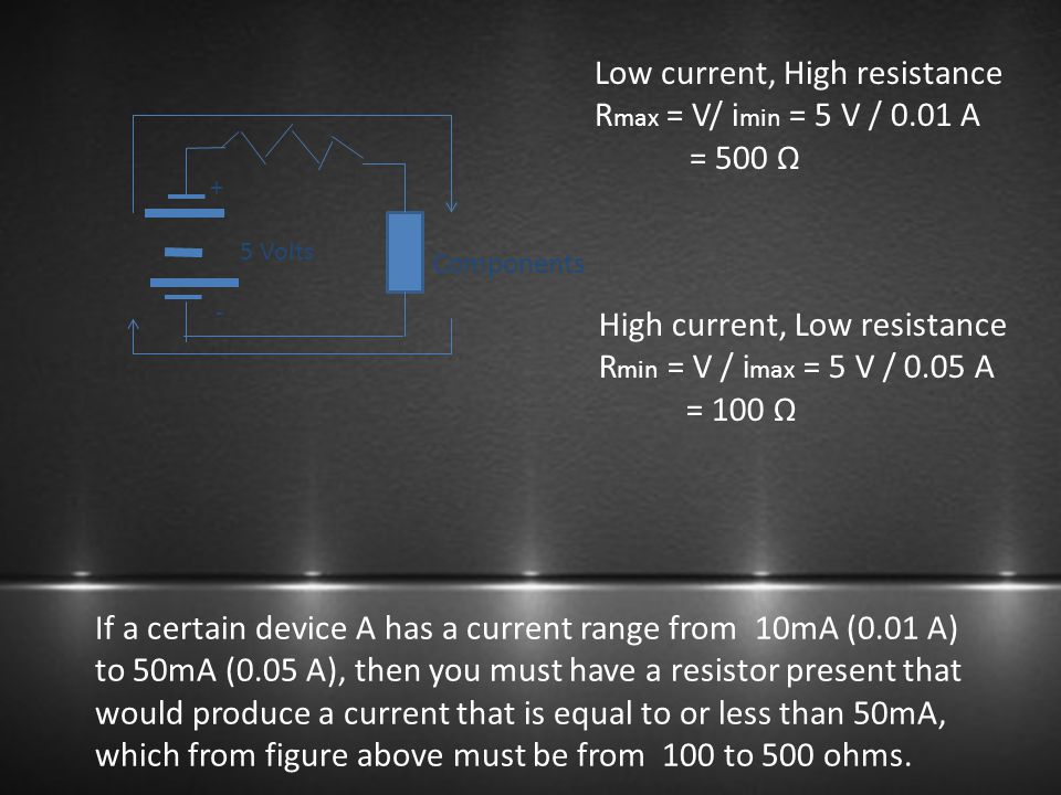 Low current, High resistance Rmax = V/ imin = 5 V / 0.01 A = 500 Ω