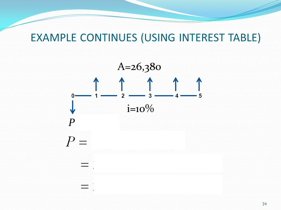 EXAMPLE CONTINUES (USING INTEREST TABLE)