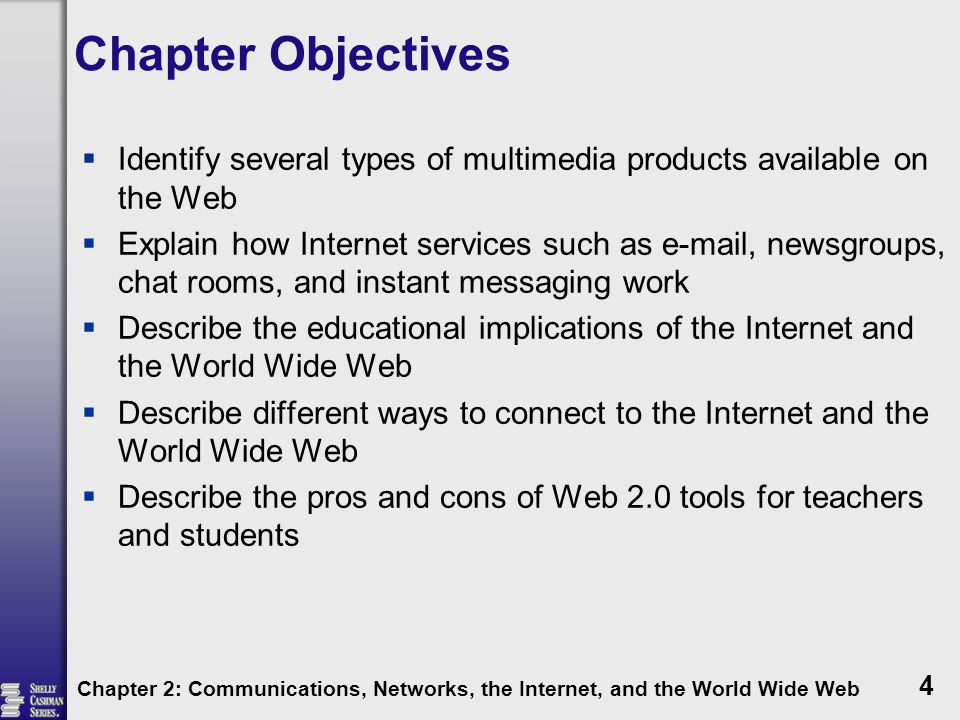 Chapter Objectives Identify several types of multimedia products available on the Web.