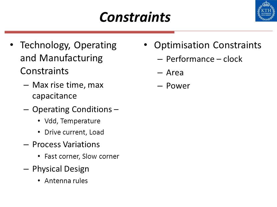 Constraints Technology, Operating and Manufacturing Constraints