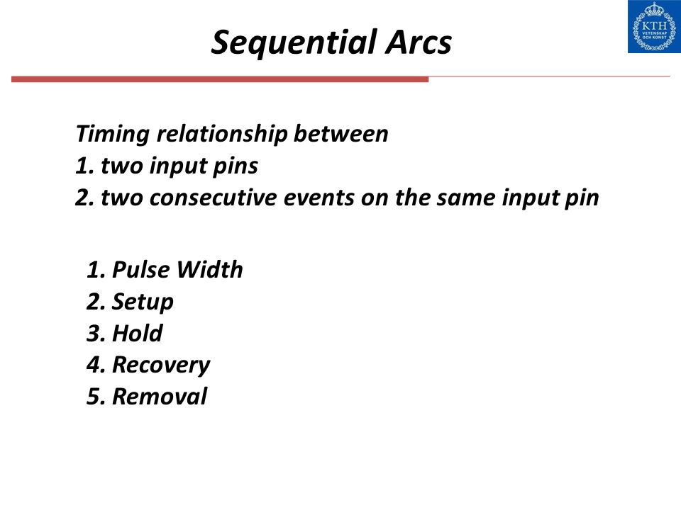 Sequential Arcs Timing relationship between two input pins