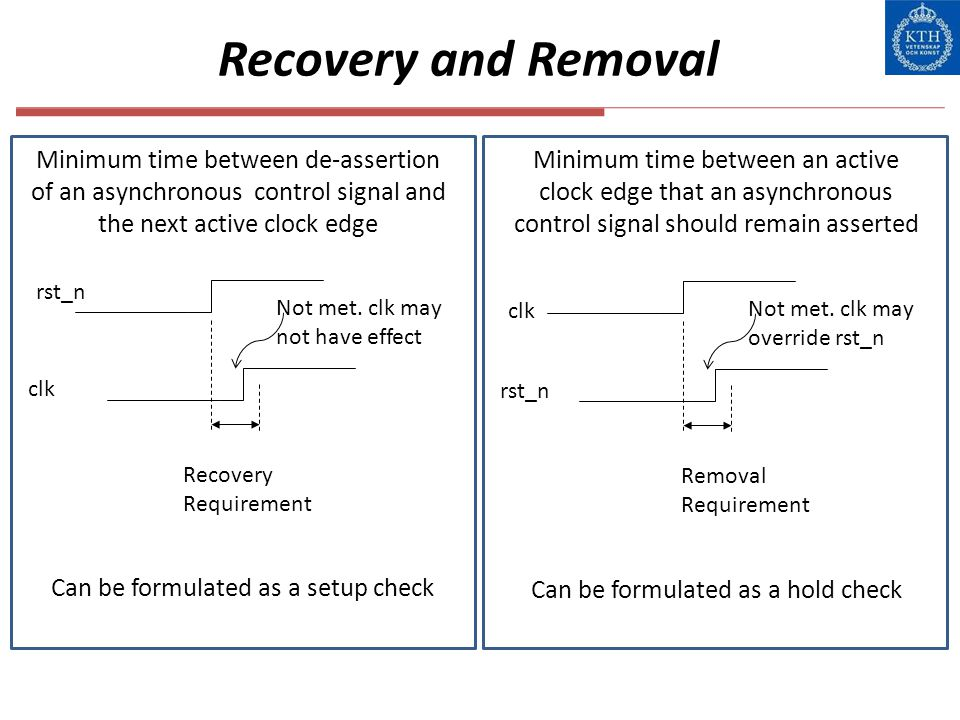 Recovery and Removal Minimum time between de-assertion of an asynchronous control signal and the next active clock edge.