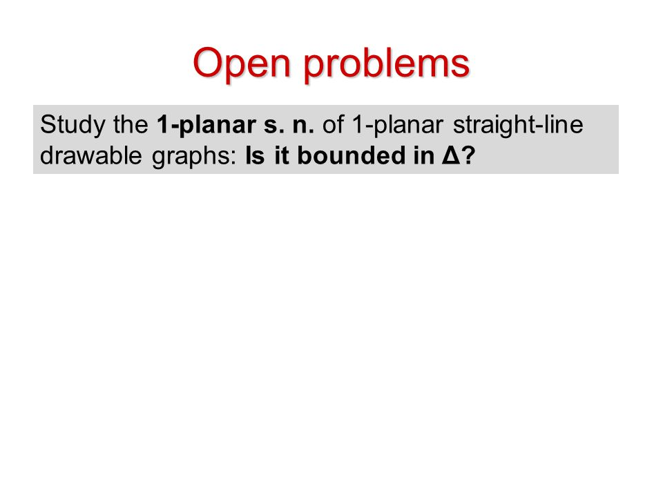 Open problems Study the 1-planar s. n.