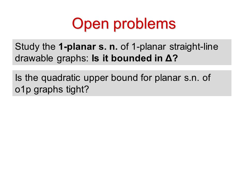 Open problems Study the 1-planar s. n. of 1-planar straight-line drawable graphs: Is it bounded in Δ