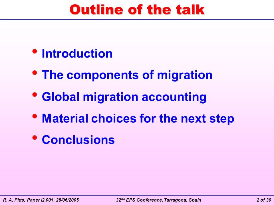 Outline of the talk Introduction The components of migration