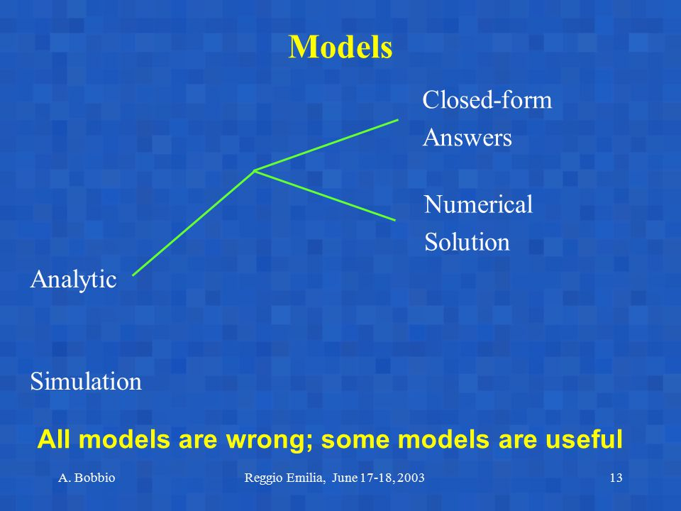 Models Closed-form Answers Numerical Solution Analytic Simulation