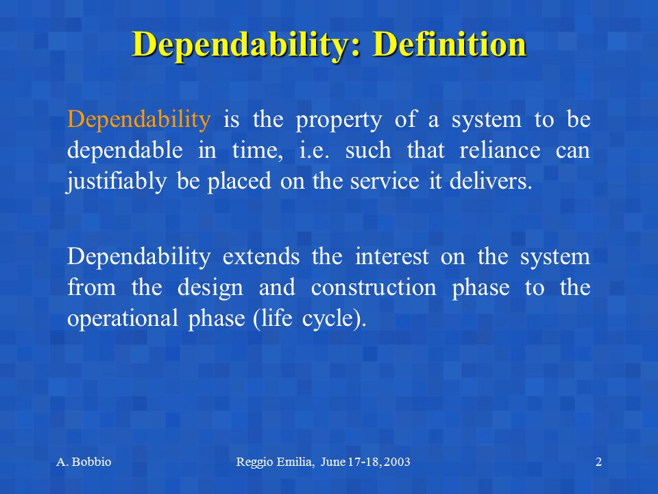 Dependability: Definition