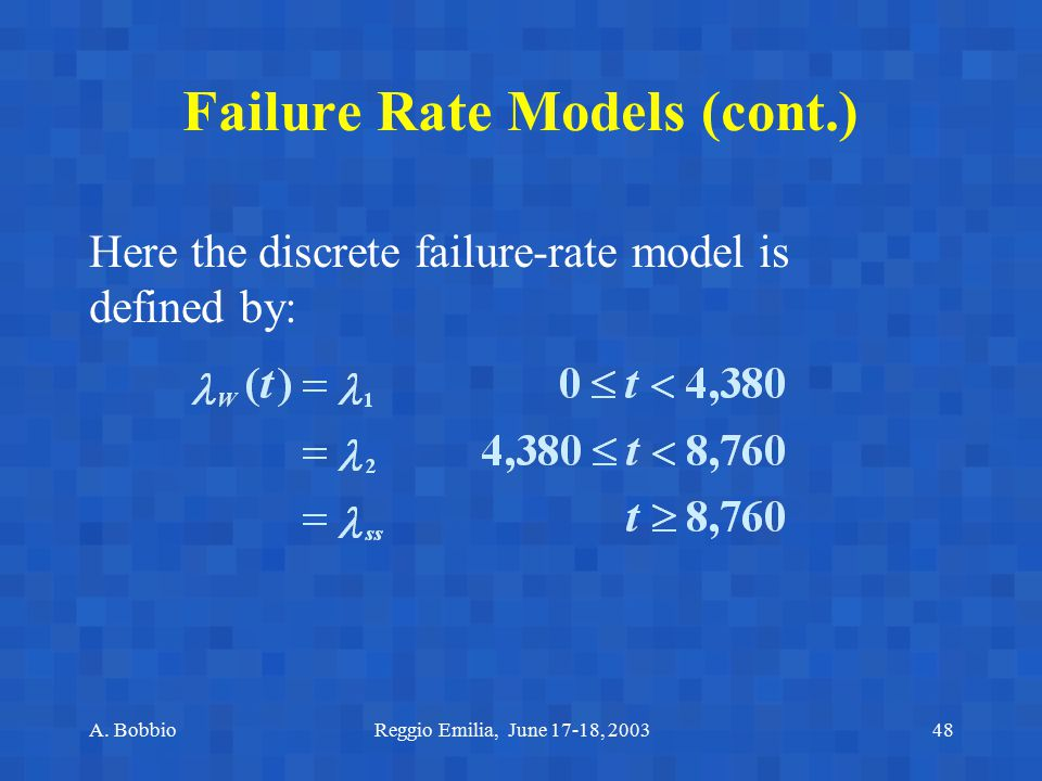 Failure Rate Models (cont.)