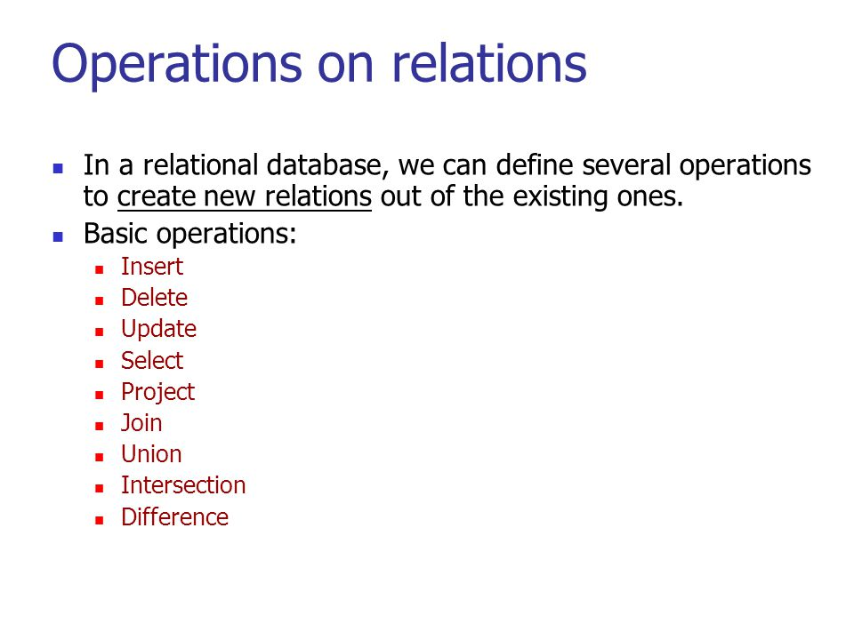 Operations on relations