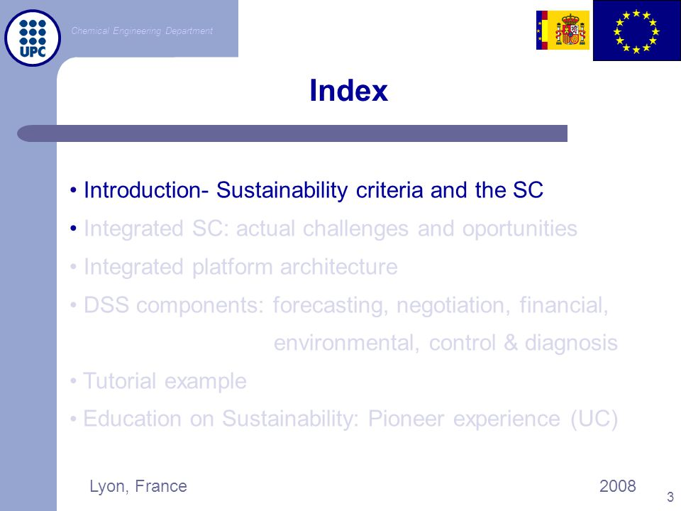 Index Introduction- Sustainability criteria and the SC