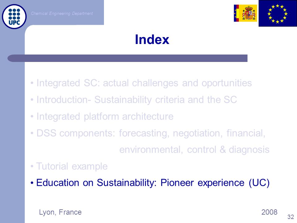 Index Integrated SC: actual challenges and oportunities