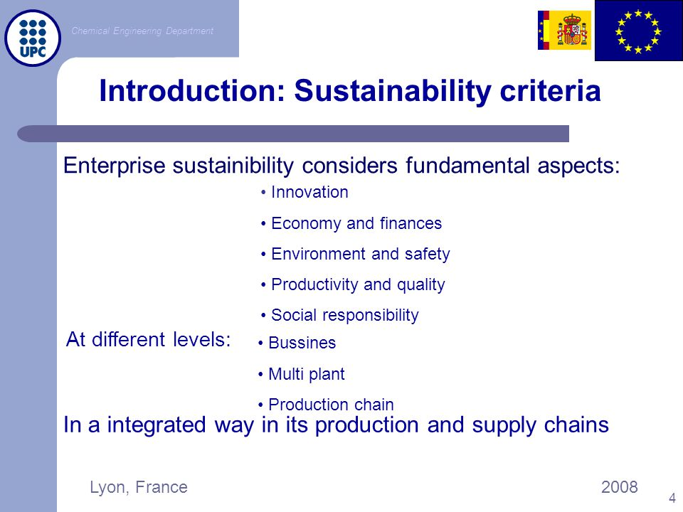 Introduction: Sustainability criteria