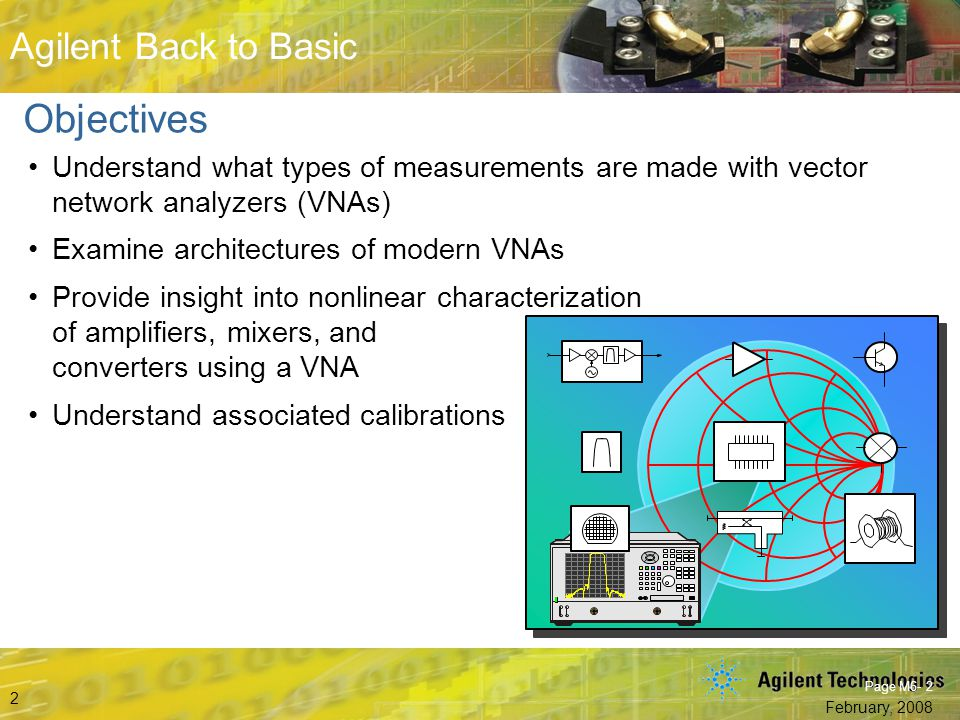 Objectives Understand what types of measurements are made with vector network analyzers (VNAs) Examine architectures of modern VNAs.