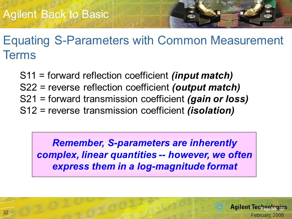 Equating S-Parameters with Common Measurement Terms