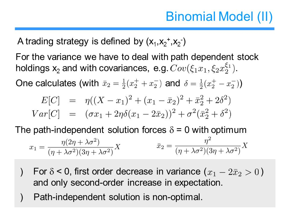 Binomial Model (II) A trading strategy is defined by (x1,x2+,x2-)