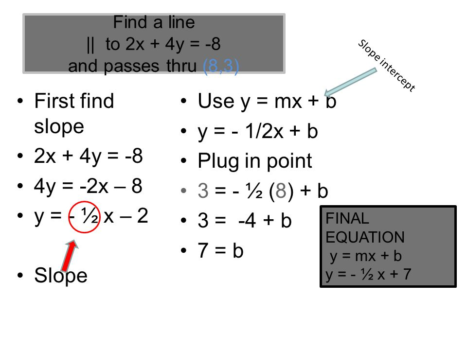 Find a line || to 2x + 4y = -8 and passes thru (8,3)