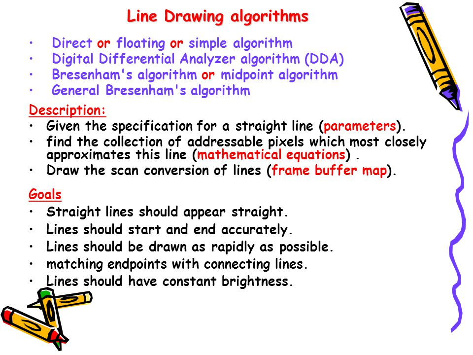 Digital Differential Analyzer Line Drawing Algorithm In Java : Scan conversion of line circle ellipse ppt video