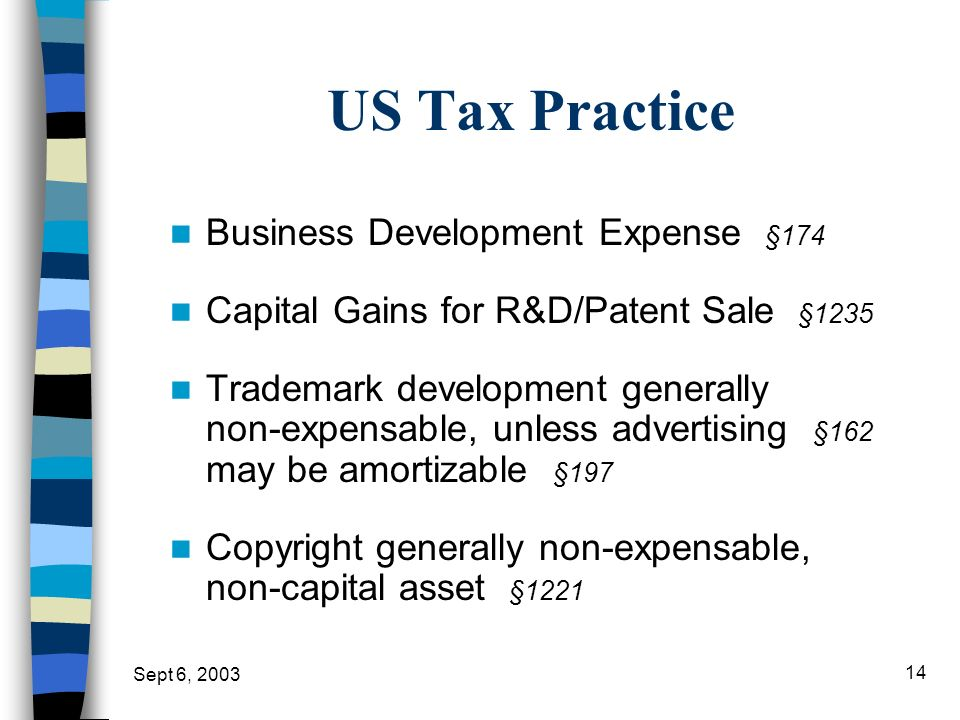 US Tax Practice Business Development Expense §174