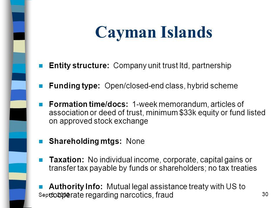 Cayman Islands Entity structure: Company unit trust ltd, partnership
