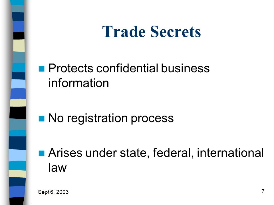 Trade Secrets Protects confidential business information