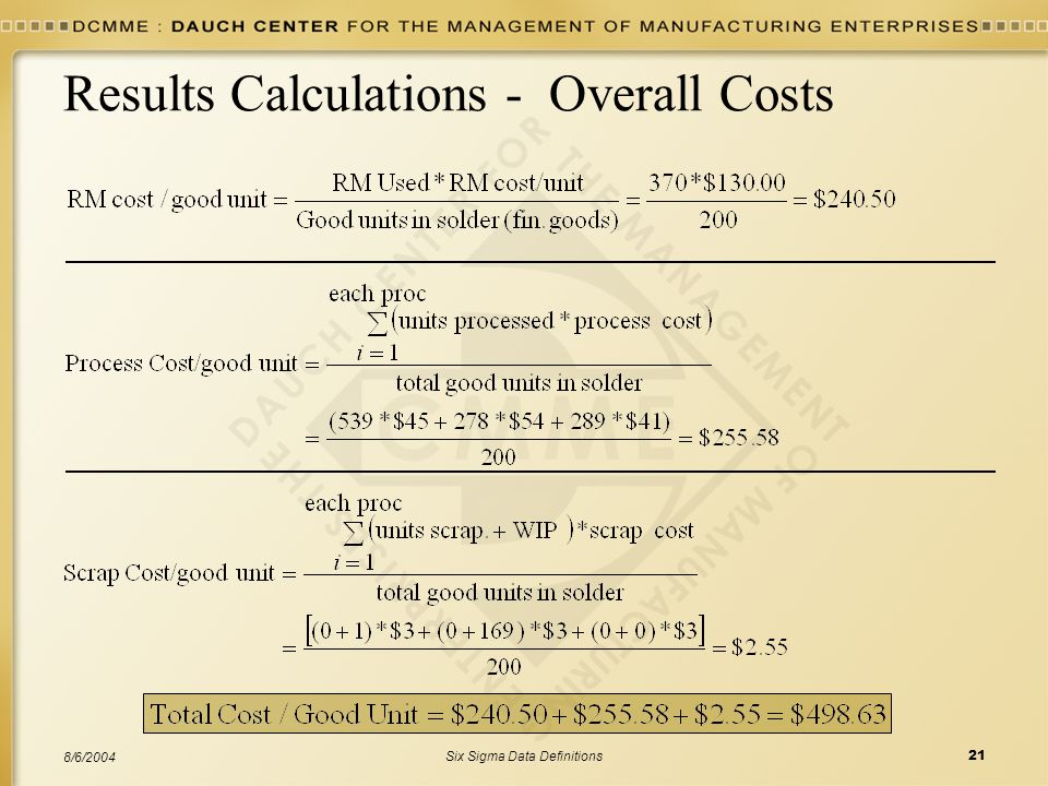 Results Calculations - Overall Costs