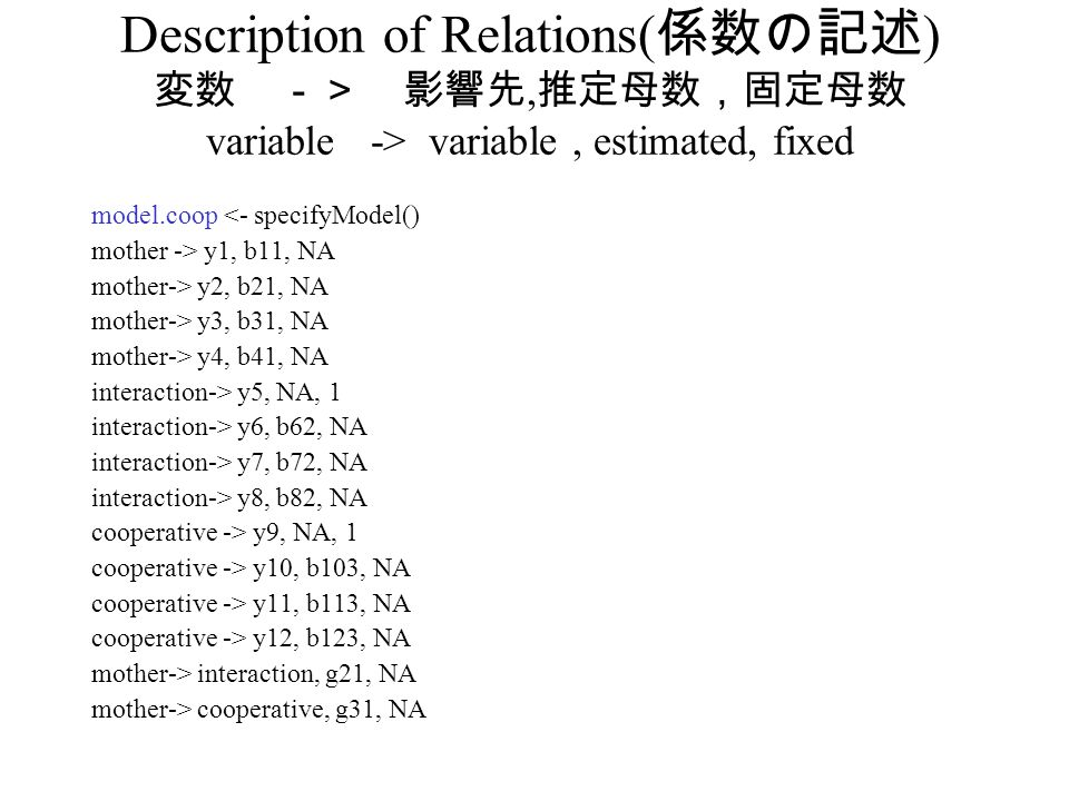 Description of Relations(係数の記述) 変数 -> 影響先,推定母数,固定母数 variable -> variable , estimated, fixed