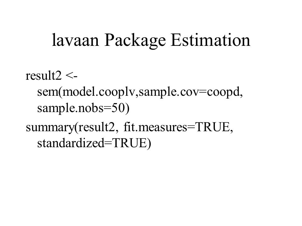 lavaan Package Estimation