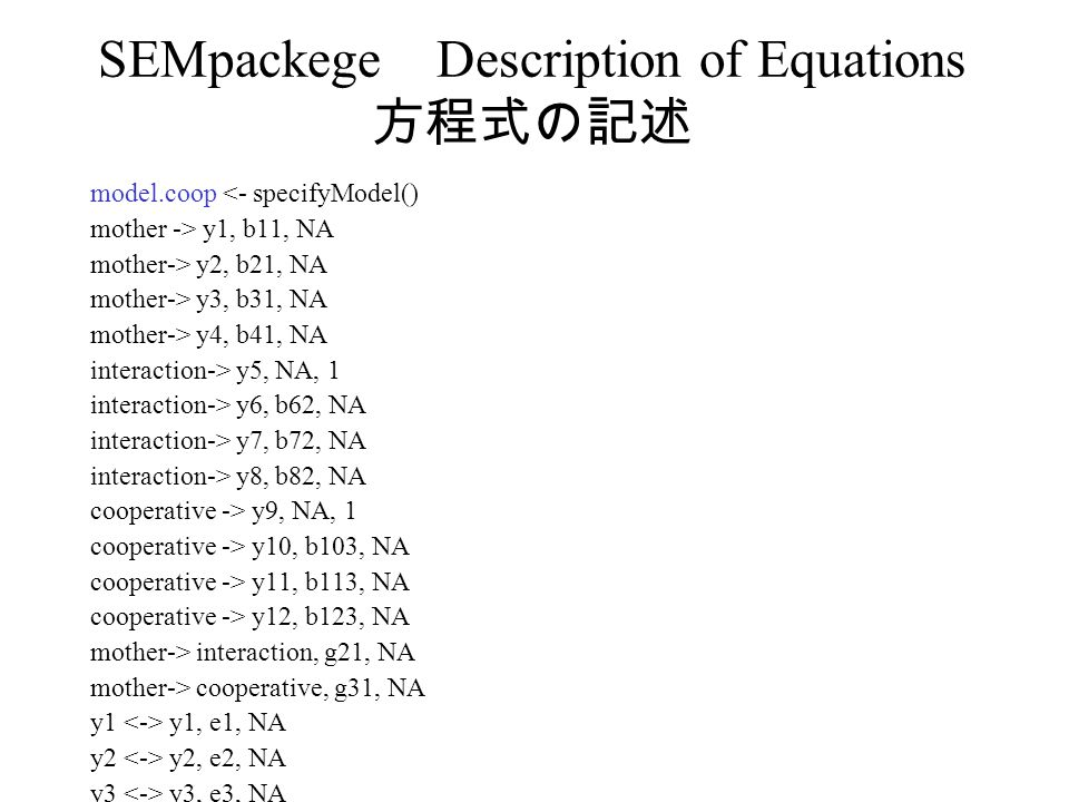 SEMpackege Description of Equations 方程式の記述