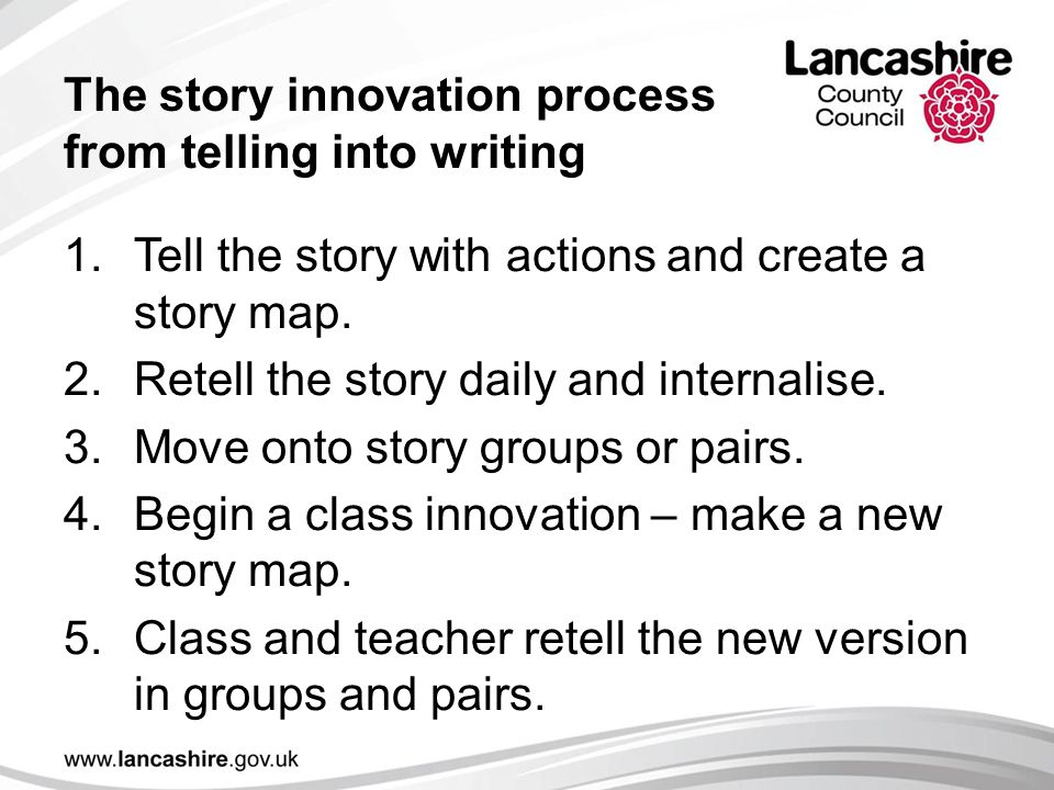 The story innovation process from telling into writing