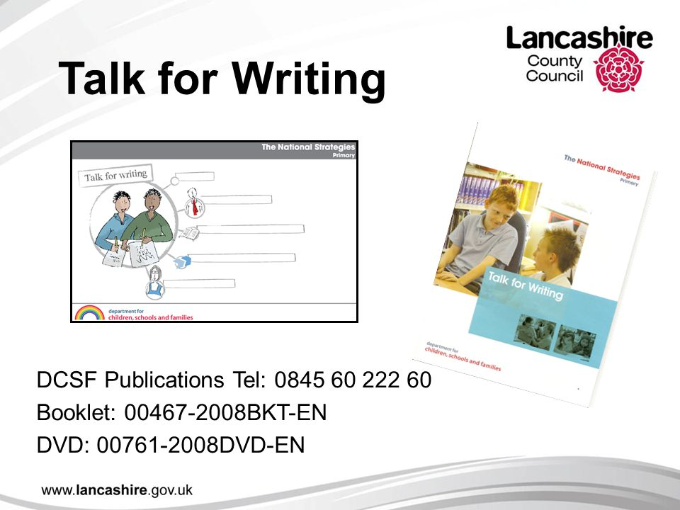Talk for Writing DCSF Publications Tel: 0845 60 222 60