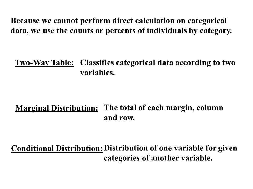 Because we cannot perform direct calculation on categorical data, we use the counts or percents of individuals by category.