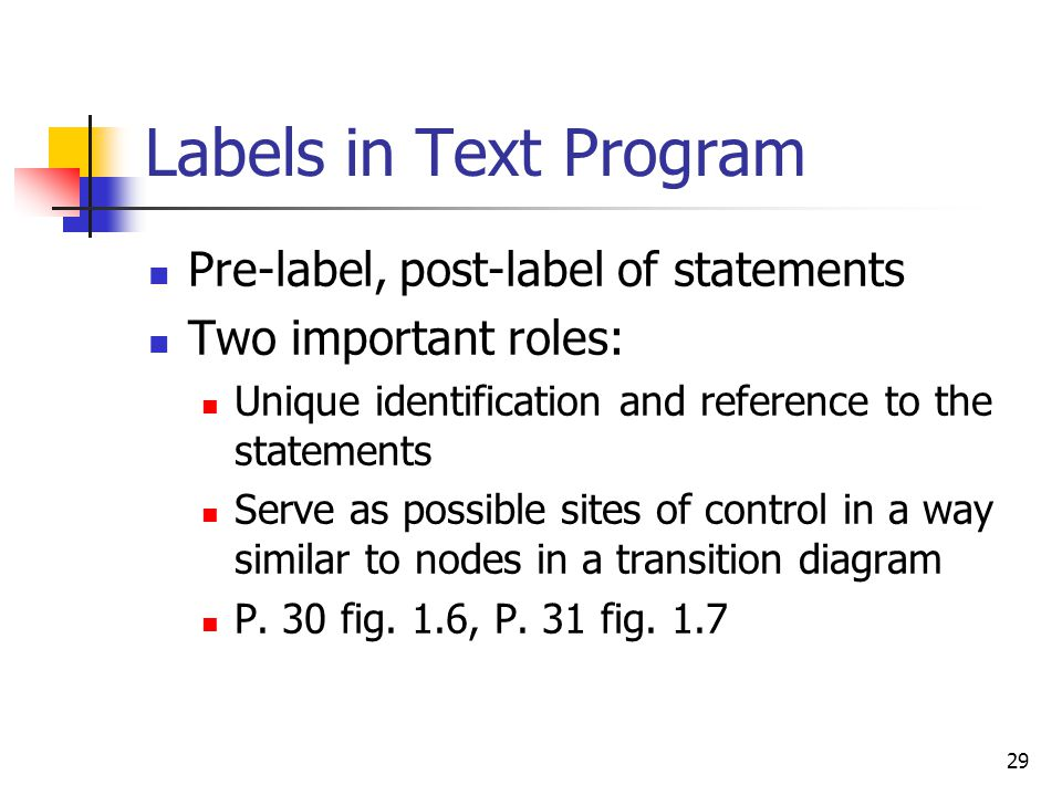 Labels in Text Program Pre-label, post-label of statements