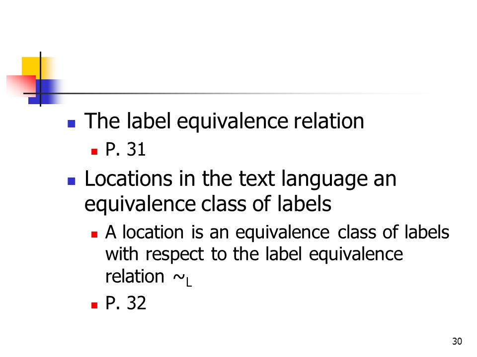 The label equivalence relation