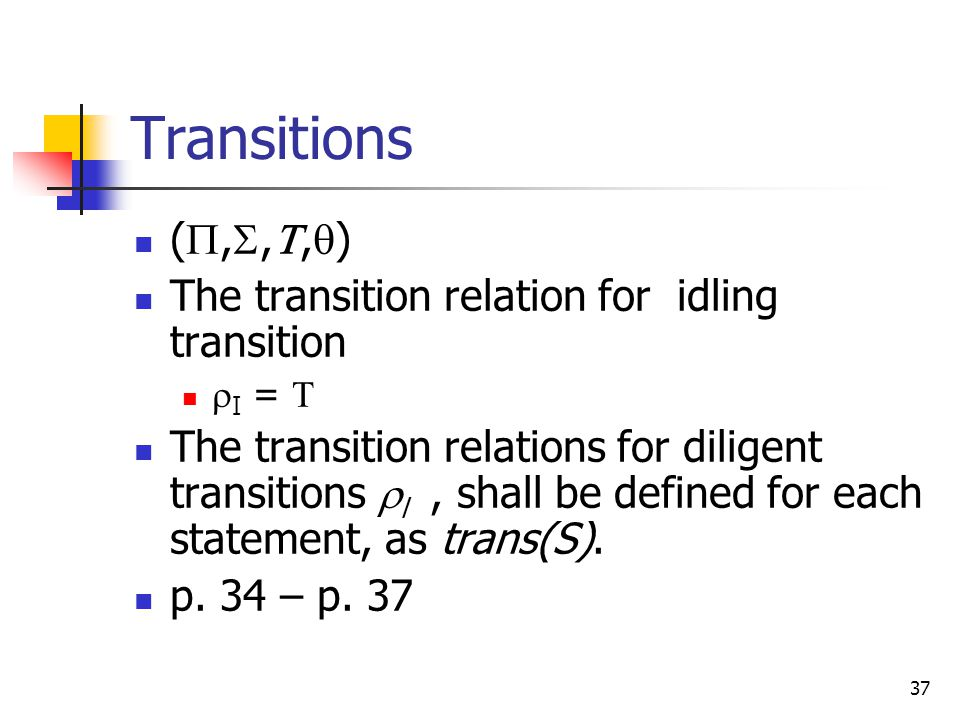 Transitions (,,,) The transition relation for idling transition